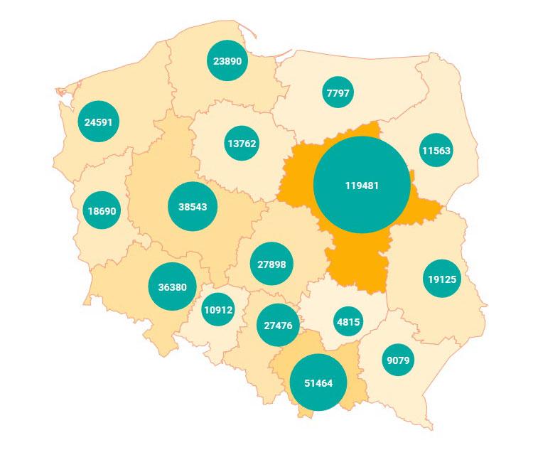 Количество иностранцев с ВНЖ в Польше в 2020 году