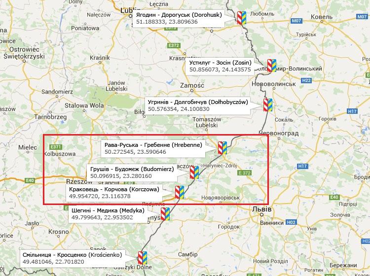 ПП Будомеж-Грушев на карте