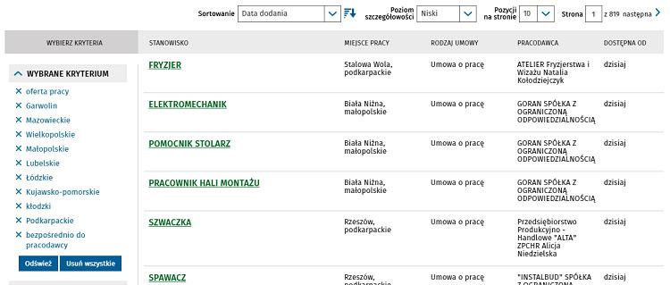 Поиск вакансий в Польше через Centralna Baza Ofert Pracy 9