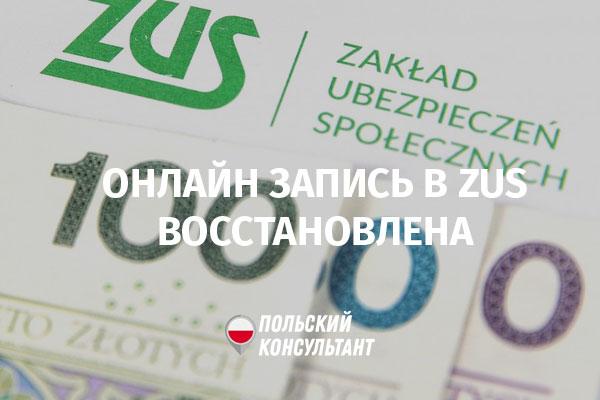 В Польше возобновлена запись в ZUS через интернет