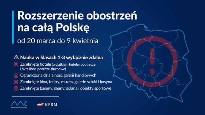 В Польше с 20 марта вводят национальный локдаун 1