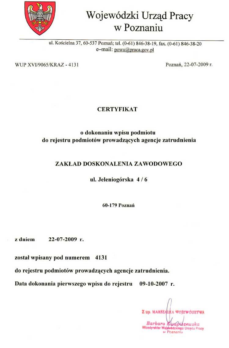 certyfikat o wpisie do rejestru agencji zatrudnienia