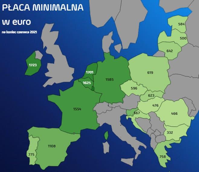 Сравнение минимальных зарплат в Польше и других странах Европы в 2021 году 1